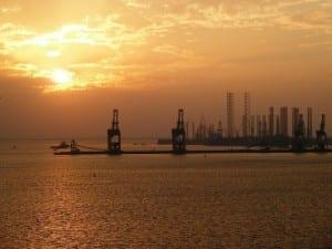 Bahrein Puesta Del Sol Industria
