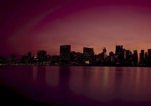 Ciudad De Nueva York Horizonte Anochecer