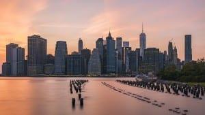 Ciudad De Nueva York Horizonte Frente Al Mar