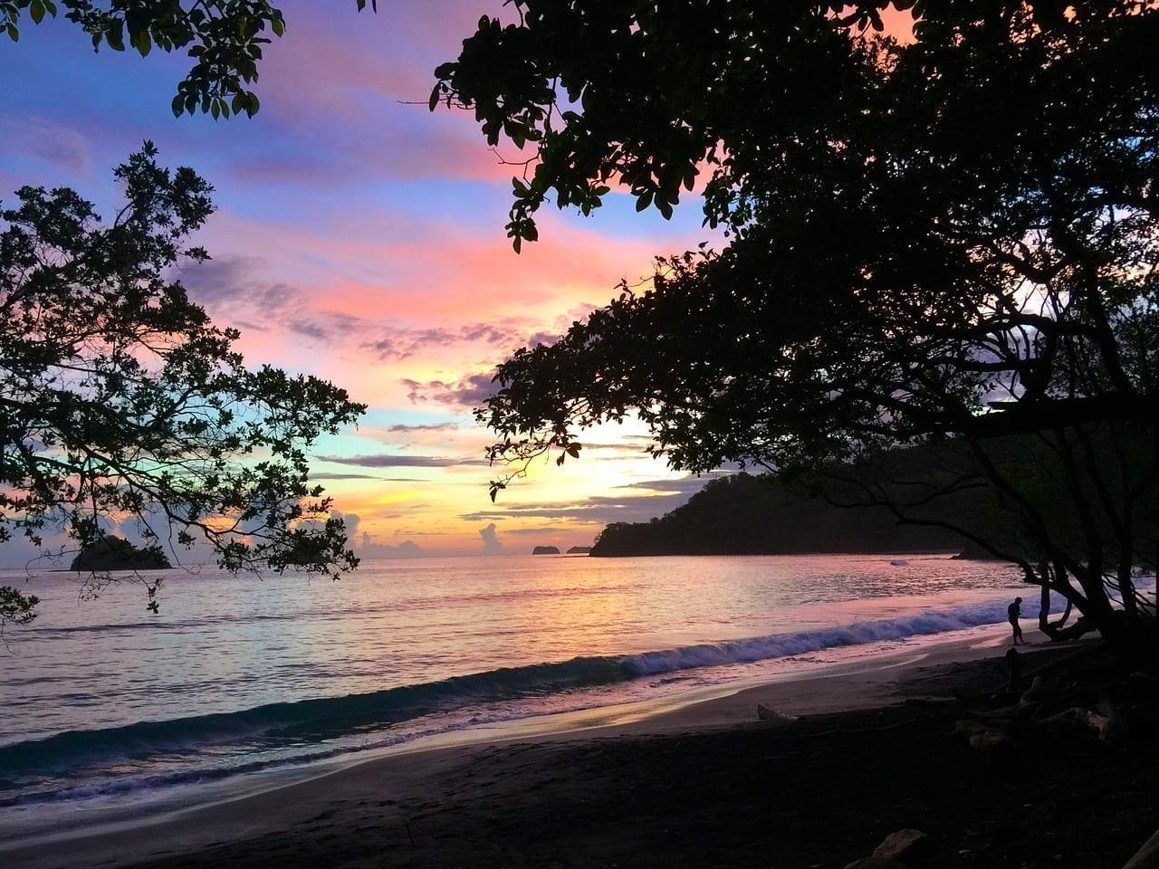 Costa Rica Puesta De Sol Océano Pacífico