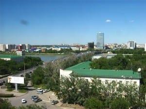 El puente Atyrau Kazajistán