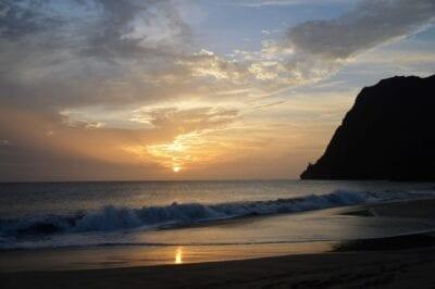 Islas De Cabo Verde Crepúsculo Playa
