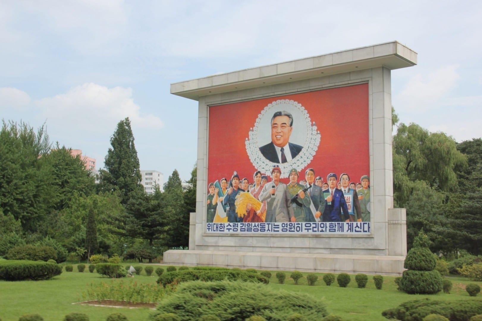 La propaganda comunista en Pyongyang Corea del Norte