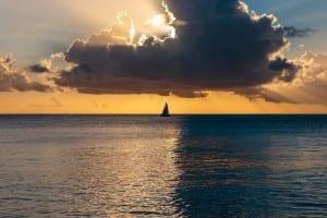 La Puesta Del Sol Del Océano Océano Atlántico Barbados