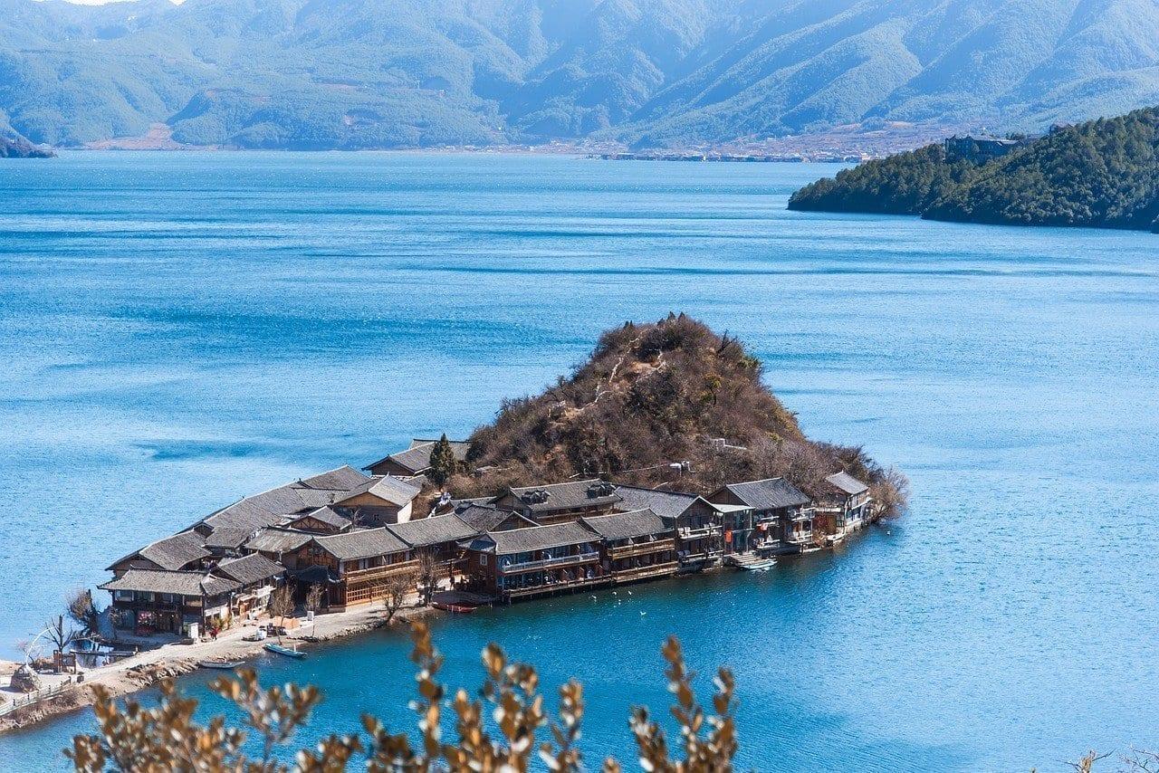 Lago Lugu China En La Provincia De Yunnan