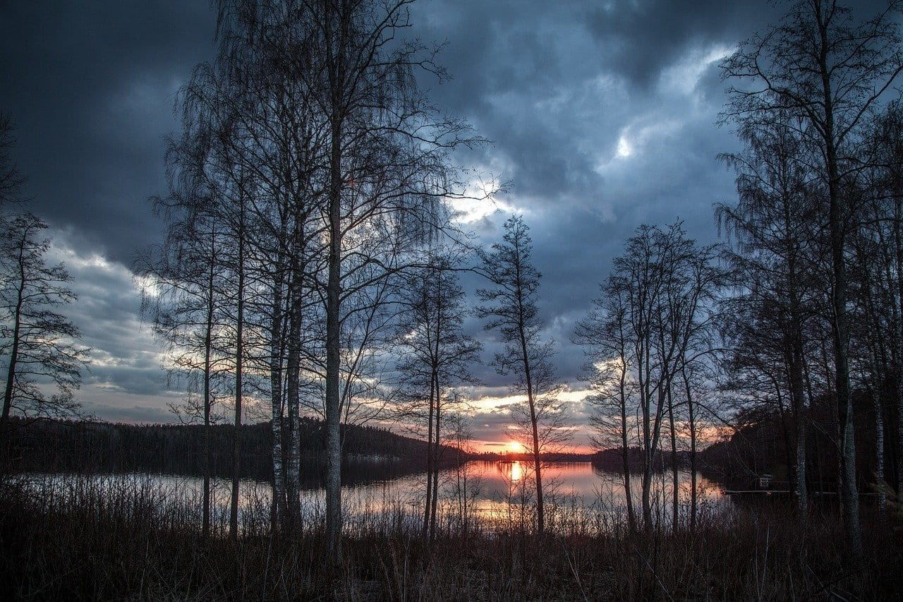 Paisaje Del Lago Finlandia Primavera