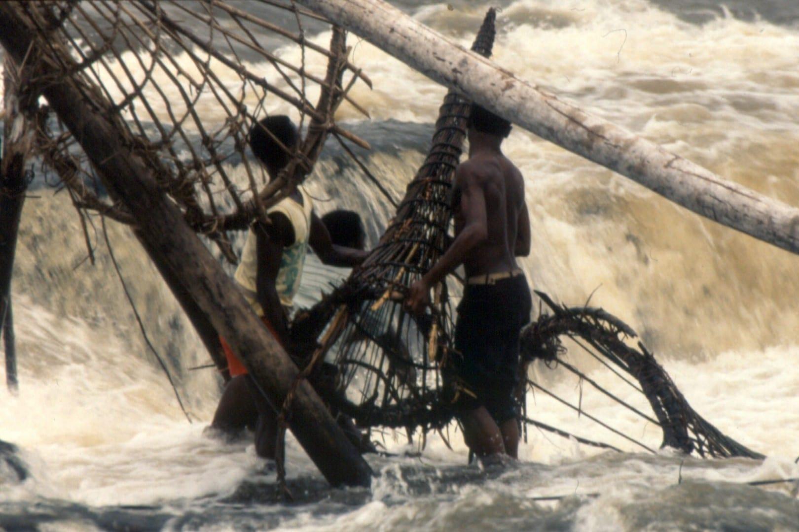 Pescadores de Wagenia con sus trampas de cesta cónica en las cataratas de Boyoma. Congo (Rep. Dem.)