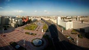 Plaza de la Independencia en Minsk Bielorrusia