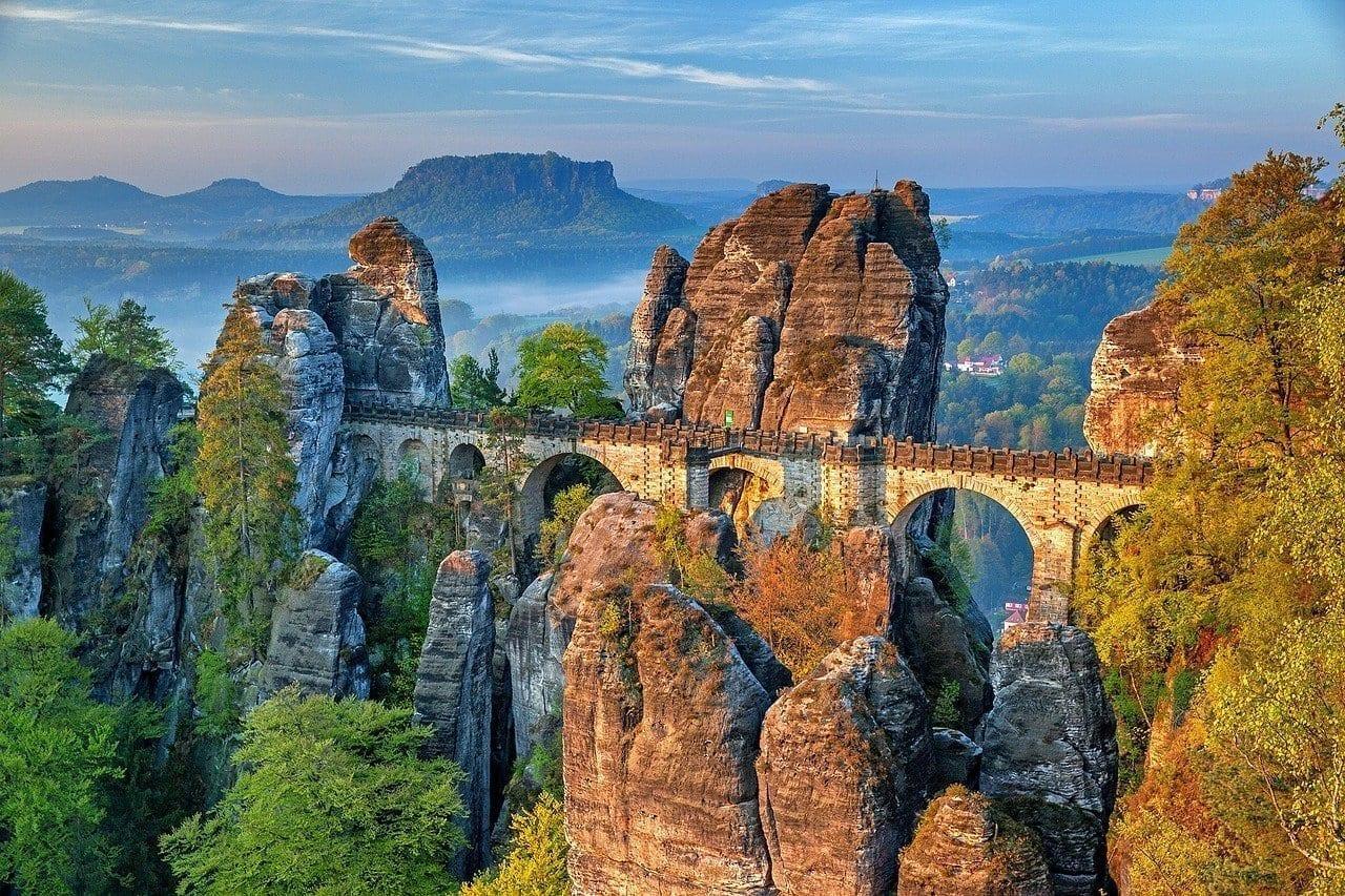 Puente Bastei Suiza Sajona Montañas De Arenisca Del Elba