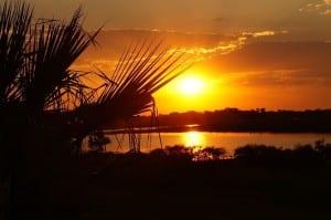 Puesta Del Sol Botswana Paisaje