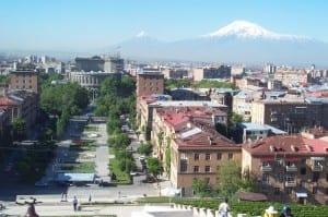 Vista del centro de Ereván desde las cascadas Armenia