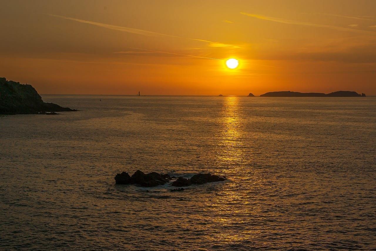 Bretaña Saint Malo Puesta Del Sol Francia