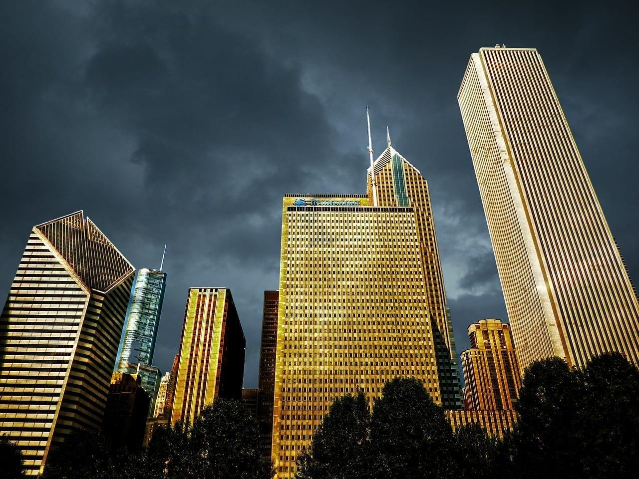 Chicago Centro De La Ciudad Salida Del Sol Estados Unidos