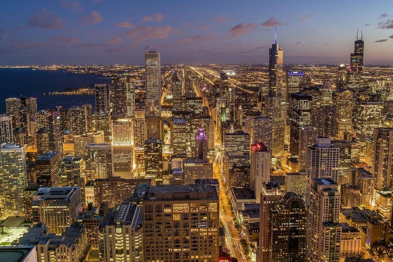 Chicago Ciudad Noche Estados Unidos
