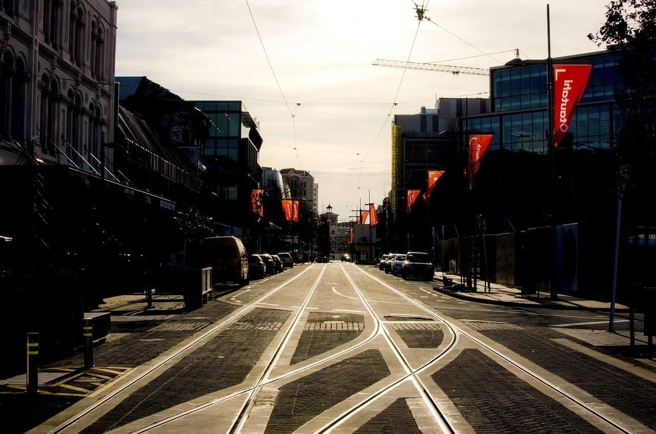 Christchurch Vías Del Tranvía La Reflexión Sobre Las Pistas Nueva Zelanda
