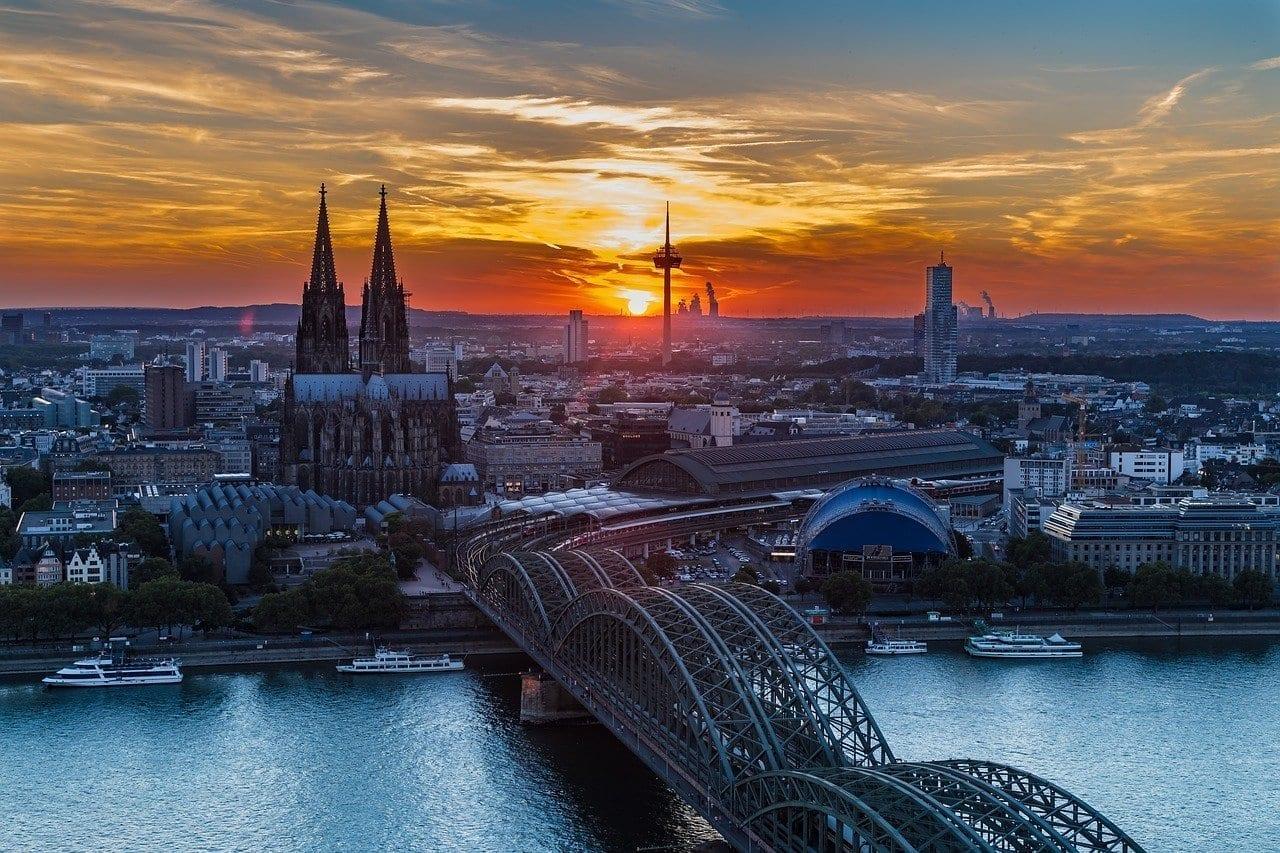 Colonia Catedral De Colonia Puesta Del Sol Alemania