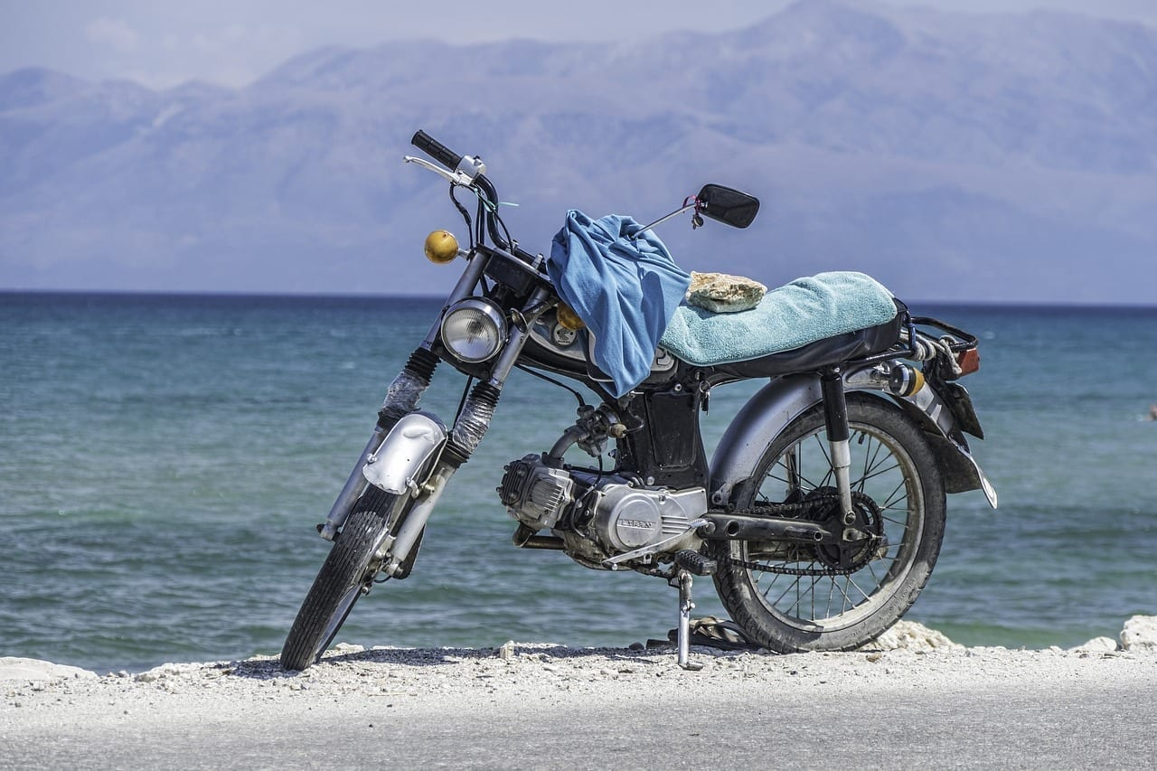 Corfu Motocicleta Mar Grecia