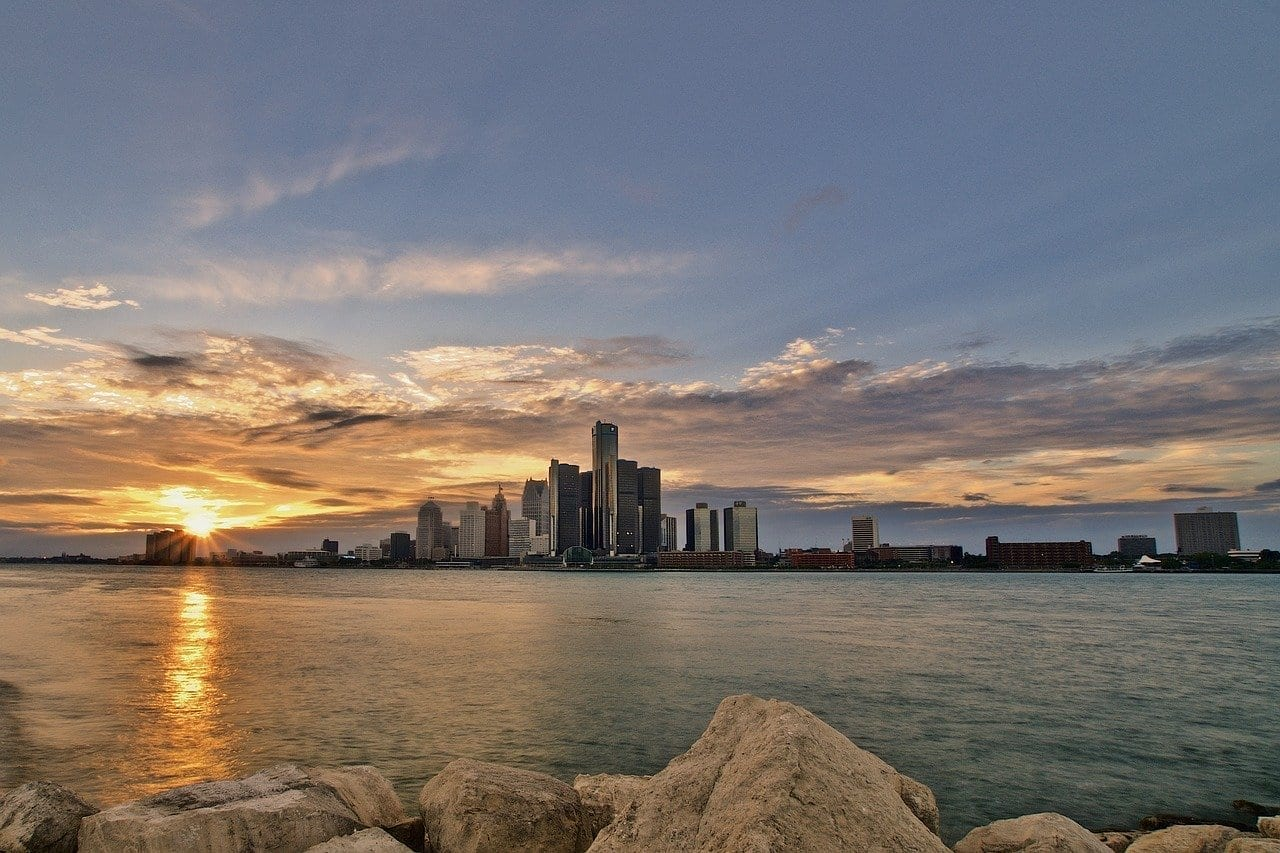 Detroit Michigan Skyline De Detroit Estados Unidos