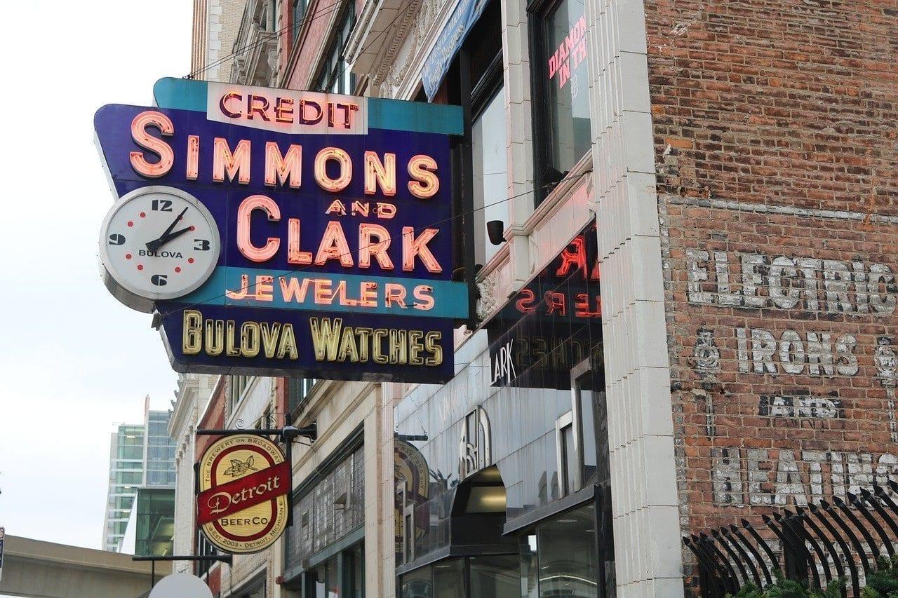 Detroit Signo Neón Estados Unidos