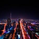 Dubai Rascacielos Luces De La Ciudad Emiratos Árabes Unidos