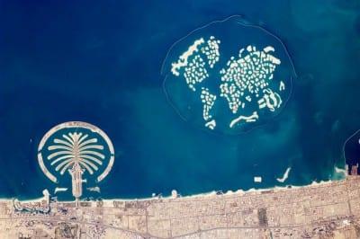 Dubai visto desde el espacio. Dubai Downtown Emiratos Árabes Unidos