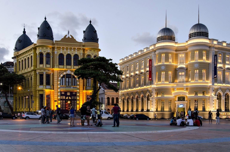 Edificios históricos en la Plaza Marco Zero en Recife Antigo Recife Brasil
