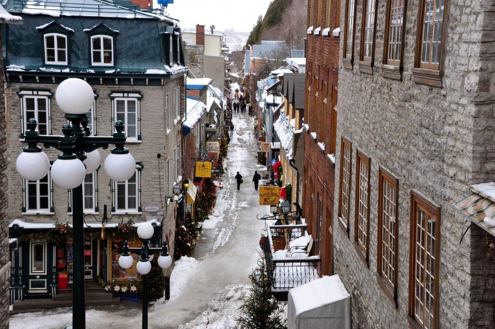 El invierno en la parte baja de la ciudad Quebec Canadá