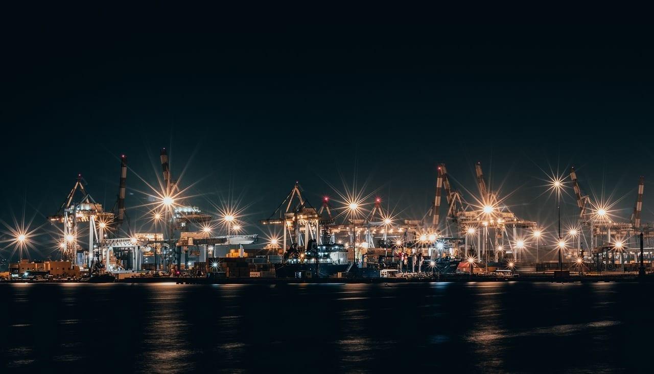 El Puerto De Haifa Noche Luces Israel