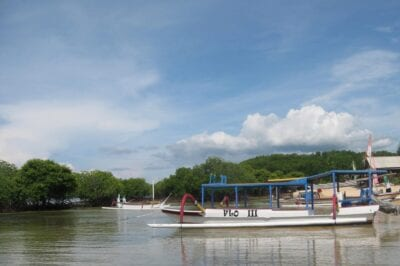 El tradicional estabilizador de jukung en los manglares Nusa Lembongan Indonesia