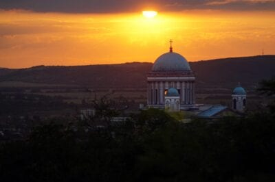 Esztergom Basílica Puesta Del Sol Hungría