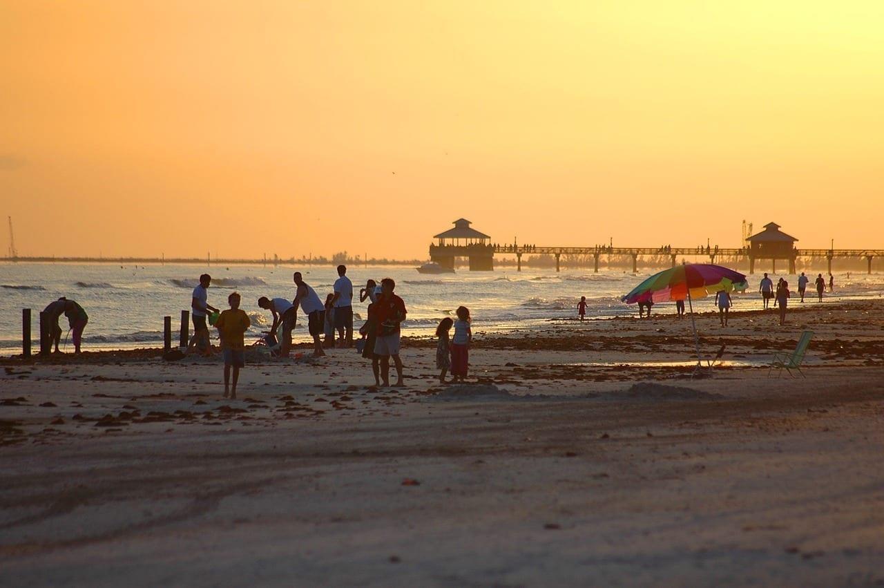 Fort Myers Beach Florida Puesta De Sol Estados Unidos