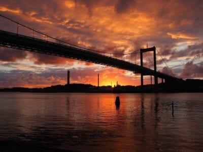 Gotemburgo älvsborgsbron Puesta Del Sol Suecia
