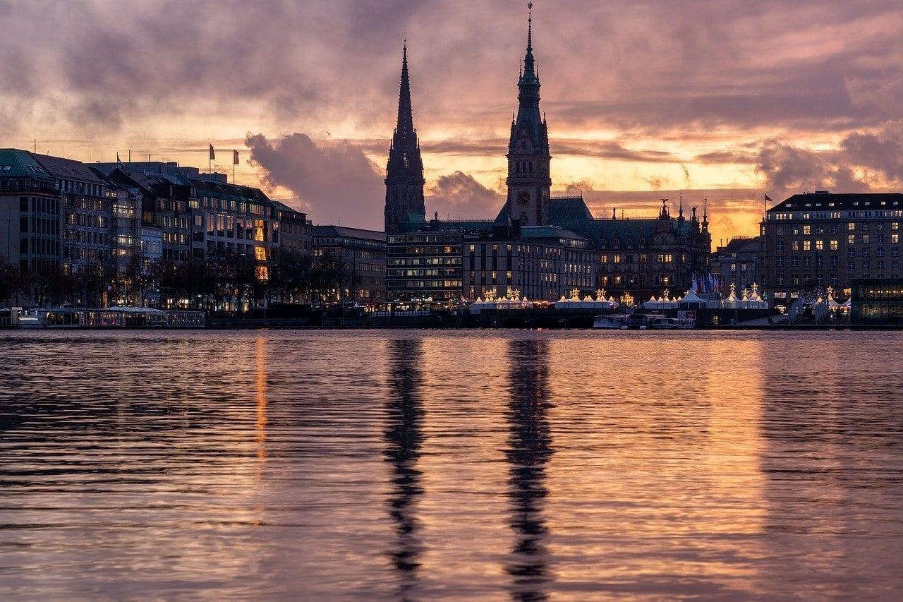 Hamburgo Alster Puesta Del Sol Alemania