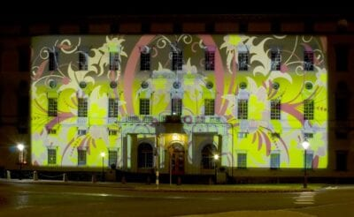 La Biblioteca Universitaria Carolina Redivia durante Allt Ljus på Uppsala. Uppsala Suecia