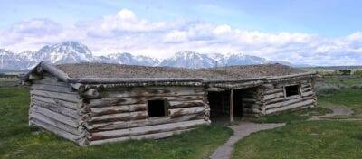 La Cabaña Cunningham en Jackson Hole, una estructura que está en el registro nacional de lugares históricos. Grand Teton WY Estados Unidos