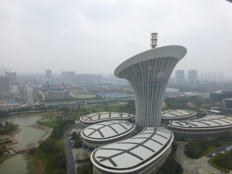 La Ciudad Futura de la Ciencia y la Tecnología, uno de los campus corporativos más orientales del área de desarrollo de Guanggu (Valle de la Óptica) Wuhan China