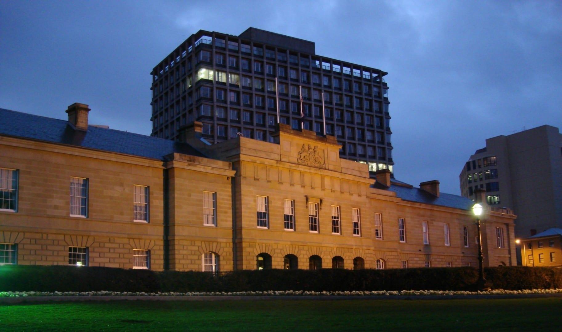 La fachada de arenisca de la Casa del Parlamento Hobart Australia