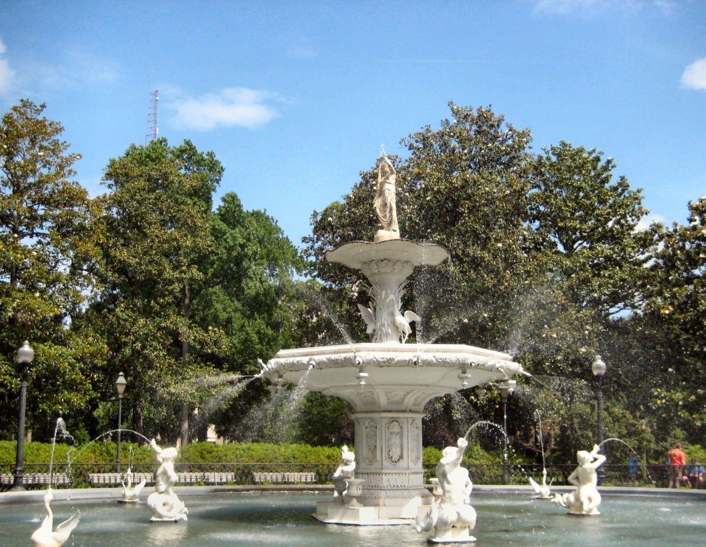 La fuente del Parque Forsyth Savannah GA Estados Unidos