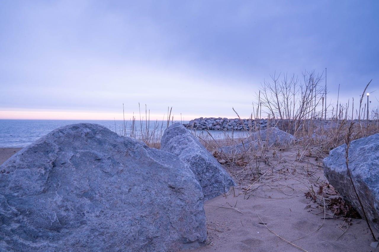 Lago Michigan El Parque De Bender Sunrise Estados Unidos