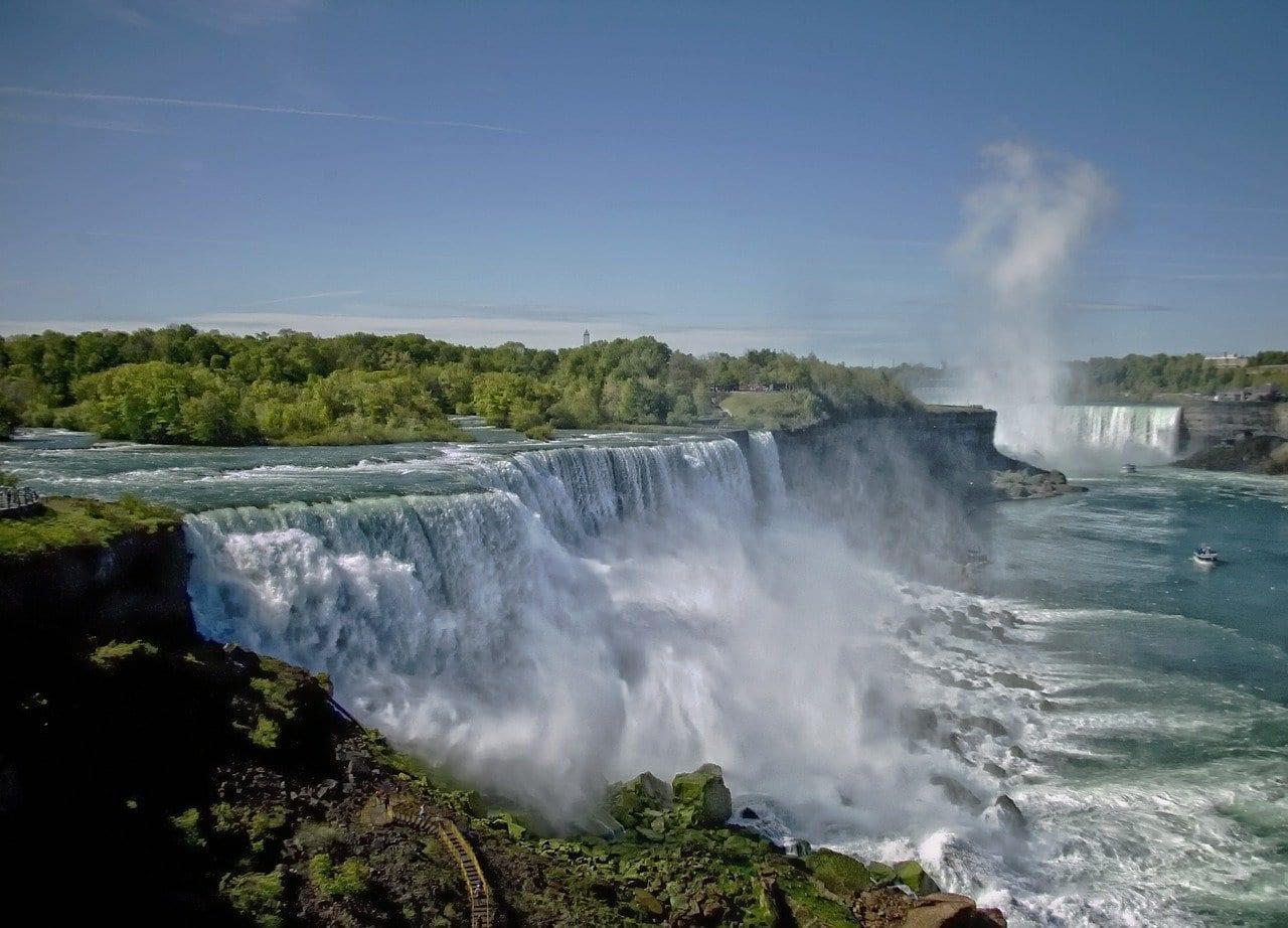 Las Cataratas Del Niágara árboles El Agua Canadá