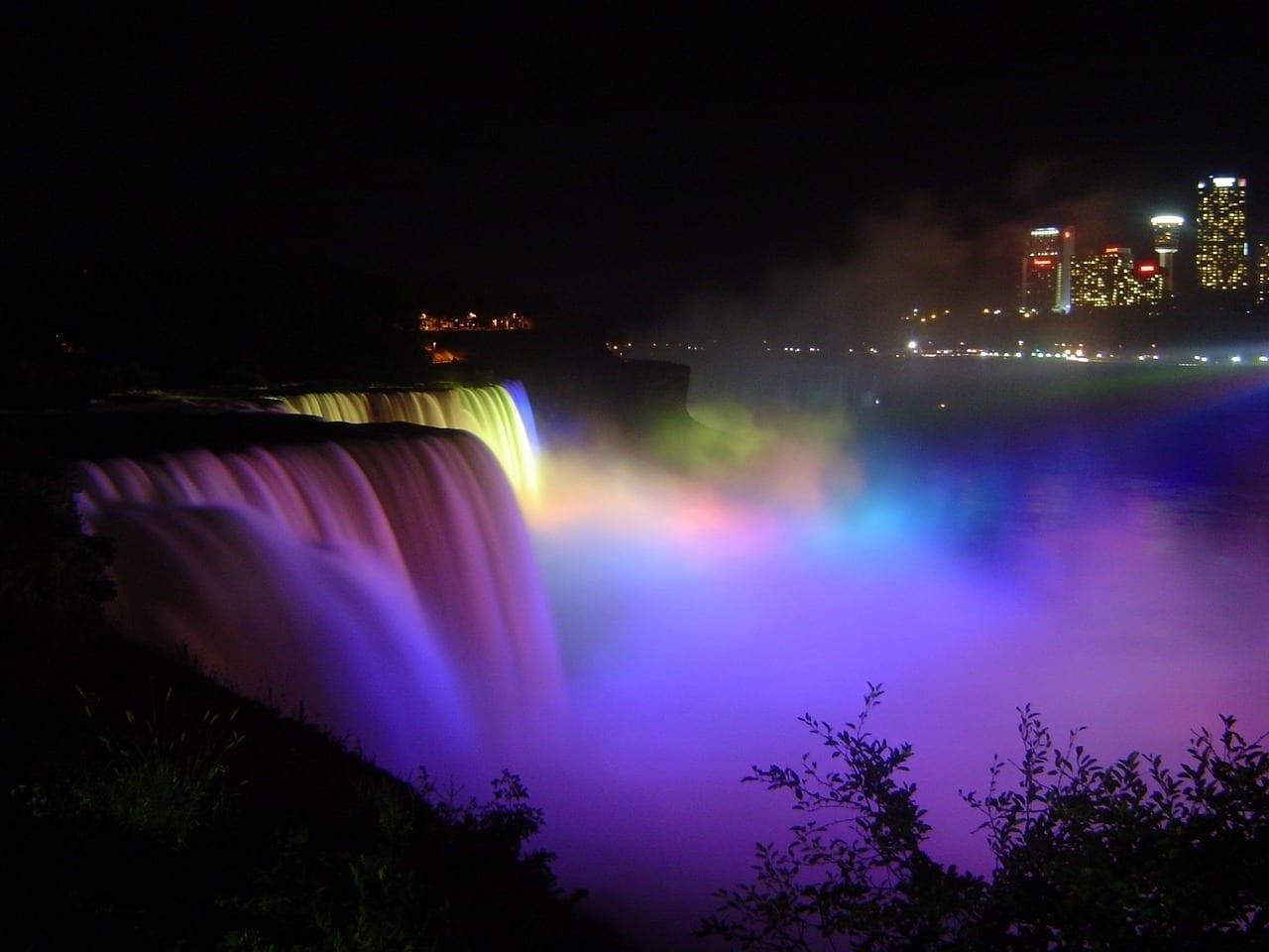 Las Cataratas Del Niágara Noche Luces Canadá