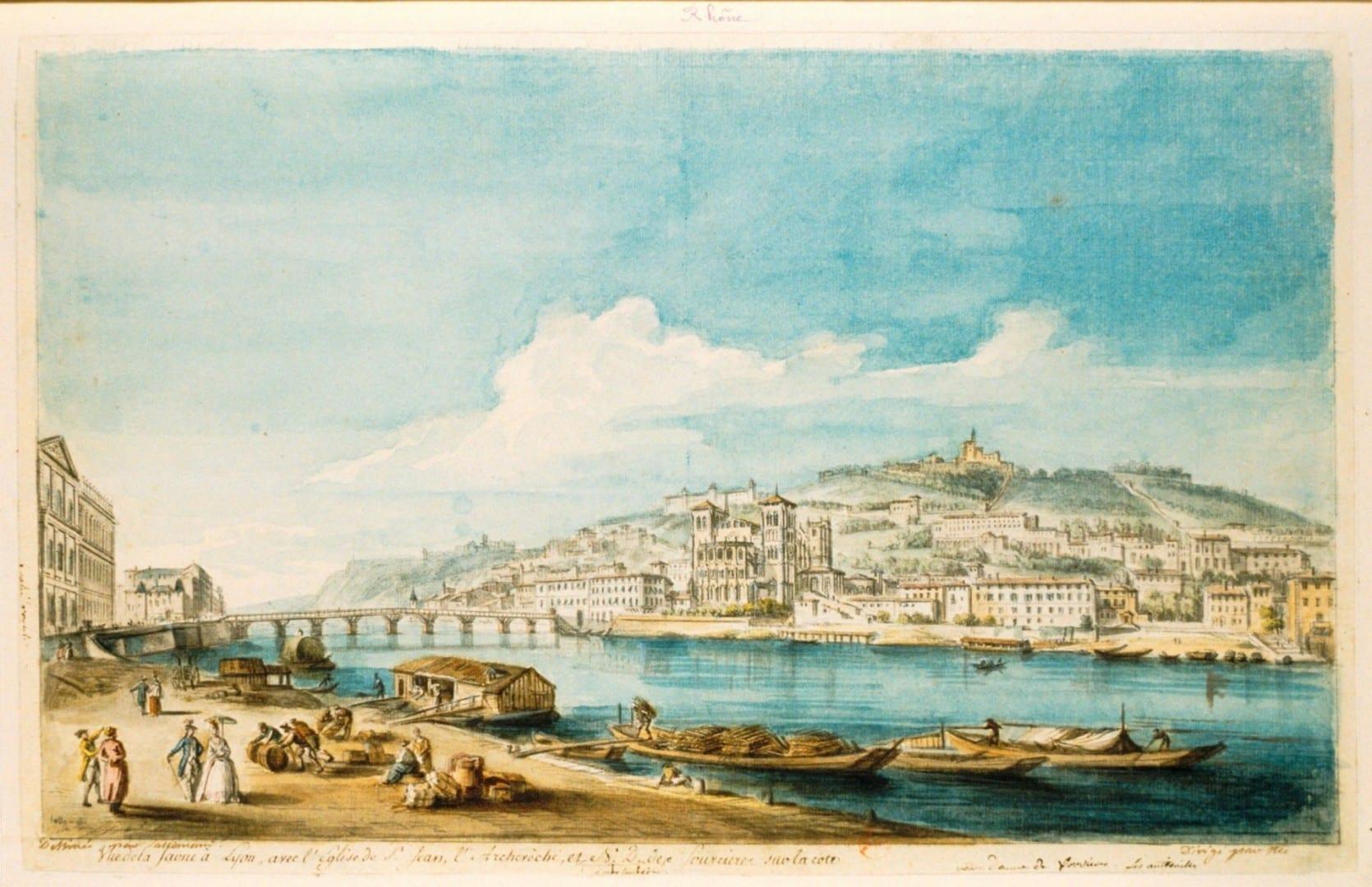 Las orillas del río Saona en Lyon en el siglo XVIII Lyon Francia