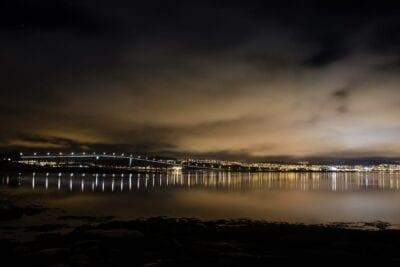 Luces De La Ciudad Noche Tromso Noruega