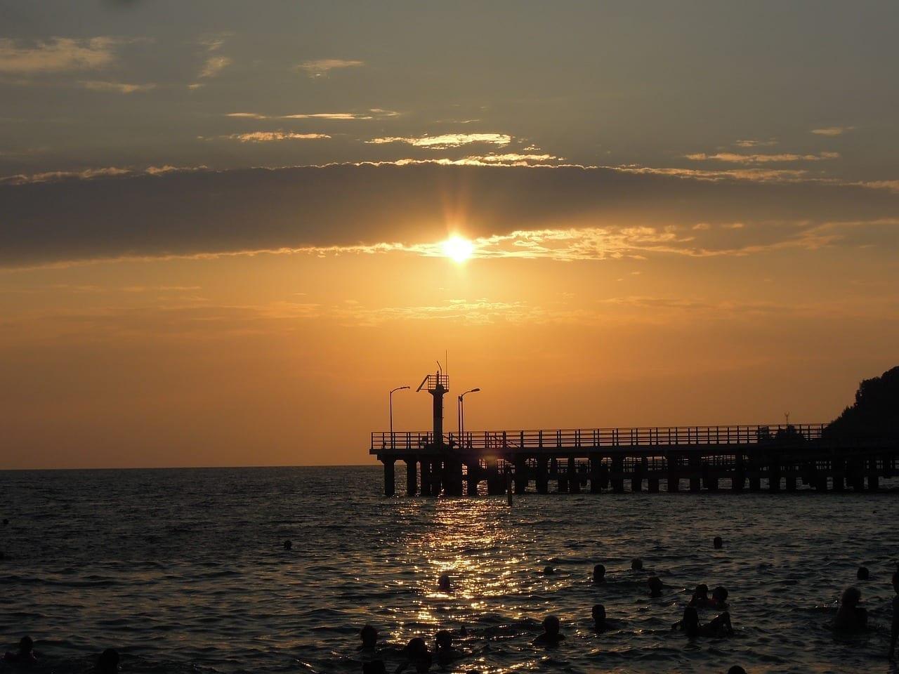 Mar Puesta Del Sol Sochi Rusia