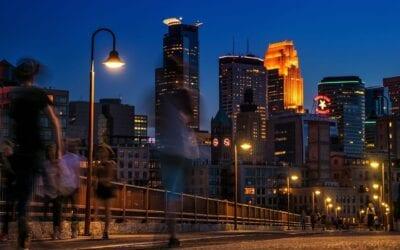Minneapolis Horizonte Noche Estados Unidos