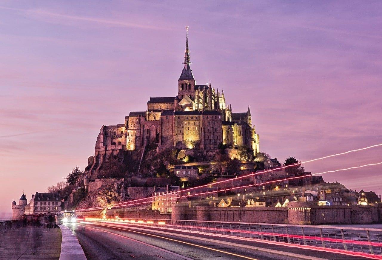 Mont Saint Michel Francia Puesta Del Sol Francia