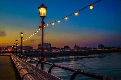 Muelle De Brighton Noche Océano Reino Unido