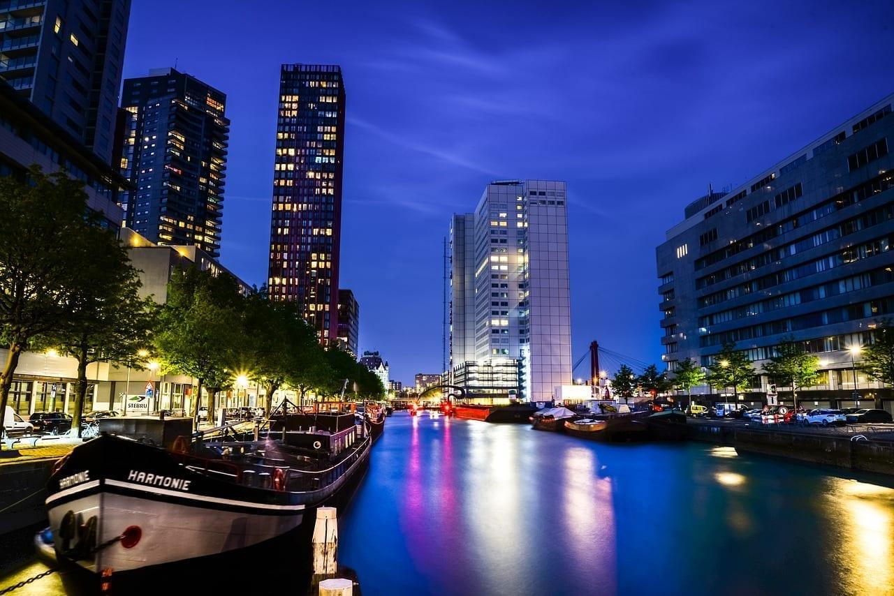 Noche Luces Rotterdam Países Bajos