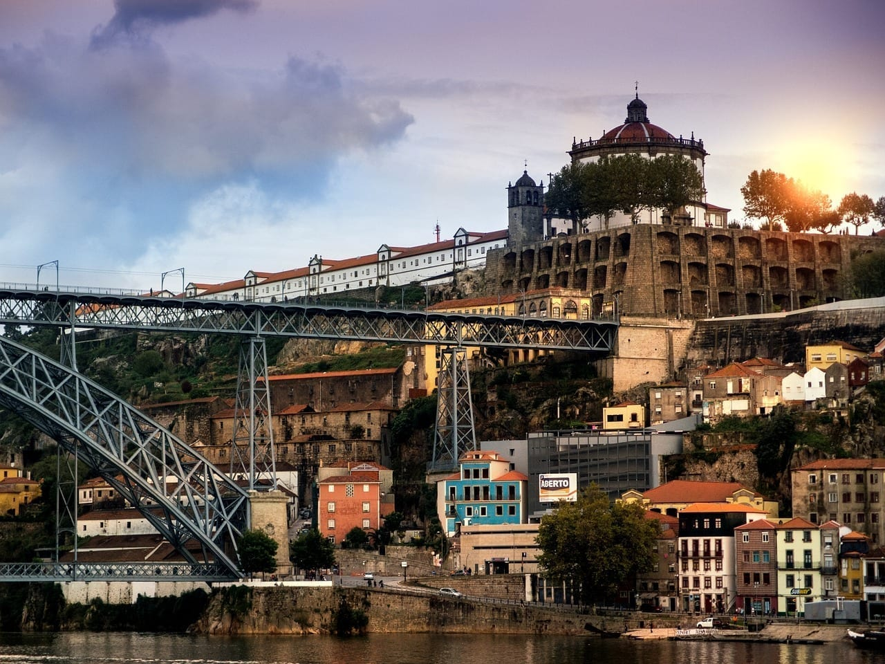 Oporto Ocaso Anochecer Portugal