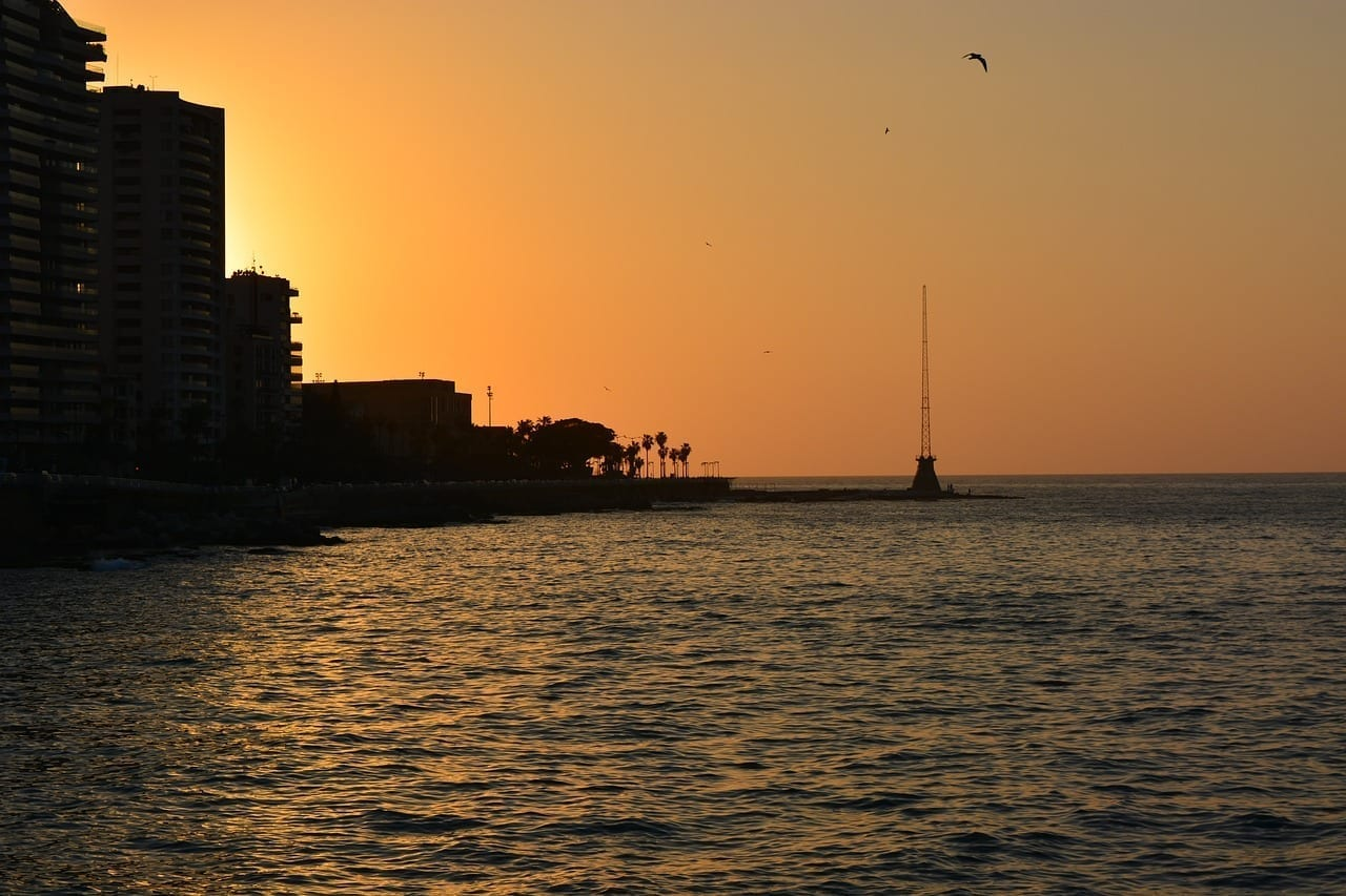 Orange Puesta De Sol Beirut Líbano